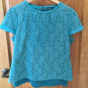 Teal lace top with silk cami